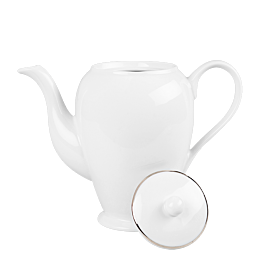 Cafetera blanca ribete plata 140 cl
