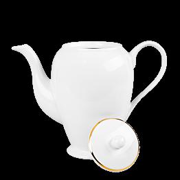 Cafetera blanca ribete oro 140 cl