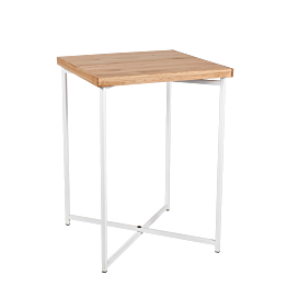 Mesa cóctel alta cruzada blanca encimera madera 65 x 65 cm 90 cm