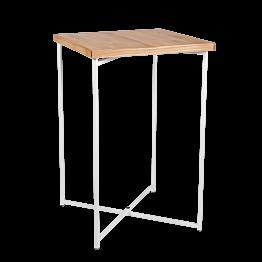 Mesa cóctel alta cruzada blanca encimera madera 65 x 65 cm 100 cm