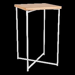 Mesa cóctel alta cruzada blanca encimera madera 65 x 65 cm 110 cm
