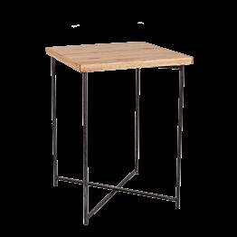Mesa alta cruzada acero encimera madera 65 x 65 cm Alt 90 cm
