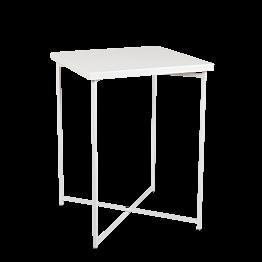 Mesa cóctel alta cruzada blanca encimera blanca 65 x 65 cm 90 cm