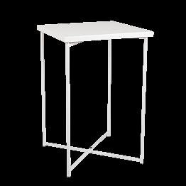 Mesa cóctel alta cruzada blanco encimera blanca 65 x 65 cm 100 cm