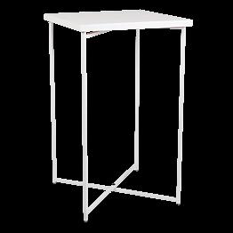 Mesa cóctel alta cruzada blanca encimera blanca 65 x 65 cm 110 cm