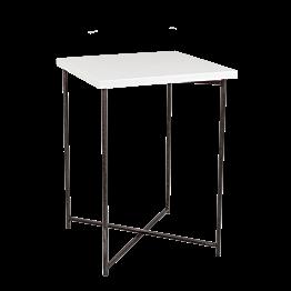 Mesa alta cruzada acero encimera blanca 65 x 65 cm Alt 90 cm
