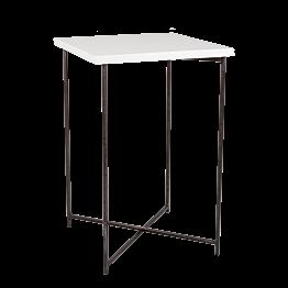 Mesa alta cruzada acero encimera blanca 65 x 65 cm Alt 100 cm