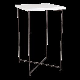 Mesa cóctel alta cruzada acero encimera blanca 65 x 65 cm 110 cm