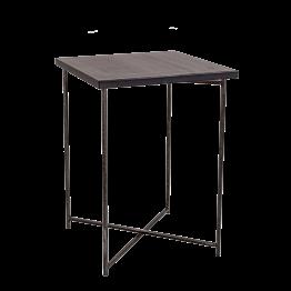 Mesa cóctel alta cruzada acero encimera negra 65 x 65 cm 90 cm
