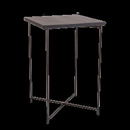 Mesa alta cruzada acero encimera negra 65 x 65 cm Alt 100 cm