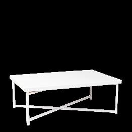 Mesa baja cruzada blanca con sobre blanco 64 x 101 cm Alt 35 cm