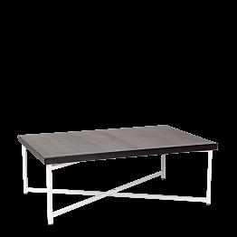 Mesa baja cruzada blanca con sobre negro 64 x 101 cm Alt 35 cm