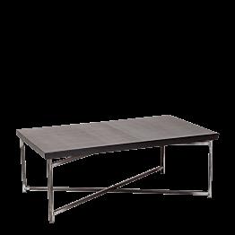 Mesa baja cruzada acero con sobre negro  64 x 101 cm Alt 35 cm