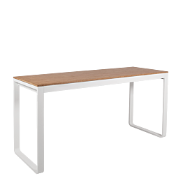 Mesa alta blanca con sobre natural 230 x 80 cm Alt 110 cm