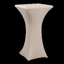 Mesa cóctel alta con funda beige 60 x 60 cm Alt. 111 cm