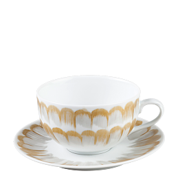 Taza y plato de té Plumas 20 cl