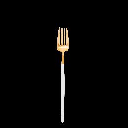 Tenedor de entremés/postre Cutipol blanco y dorado