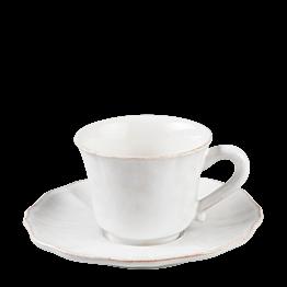 Taza y plato de café Romance 9 cl