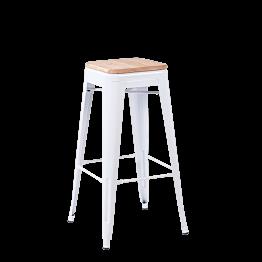 Taburete industrial blanco con asiento de madera – Alt. 78 cm