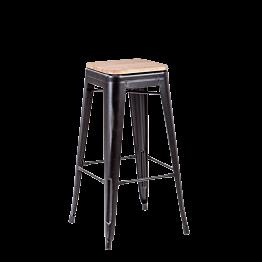 Taburete industrial negro con asiento de madera – Alt. 78 cm