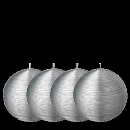 Lote de 4 velas bola pincelada plata Ø 10 cm