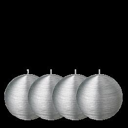 Lote de 4 velas bola pincelada plata Ø 8 cm