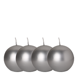 Lote de 4 velas bola plateada Ø 8 cm