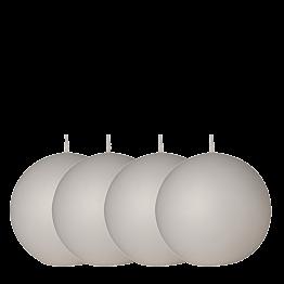 Lote de 4 velas bola blanca Ø 10 cm