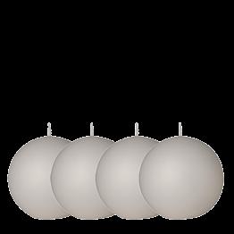 Lote de 4 velas bola blanca Ø 8 cm