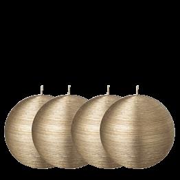 Lote de 4 velas bola pincelada oro Ø 10 cm