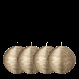 Lote de 4 velas bola pincelada oro Ø 8 cm