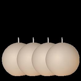 Lote de 4 velas bola satinada marfil Ø 10 cm