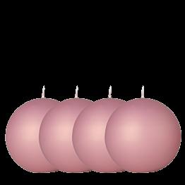 Lote de 4 velas bola terciopelo rosa pálido Ø 10 cm