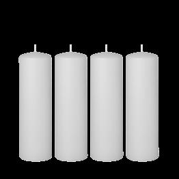 Lote de 4 velas blancas cilindro H 20 cm Ø 6 cm