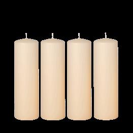 Lote de 4 velas marfil Cilindro Alt. 20 cm Ø 6 cm