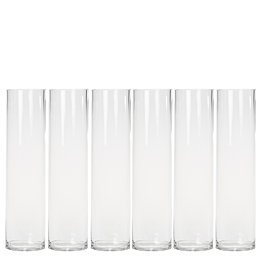 Lote de 6 Jarrones cilíndrico Alt 40 cm Ø 10 cm